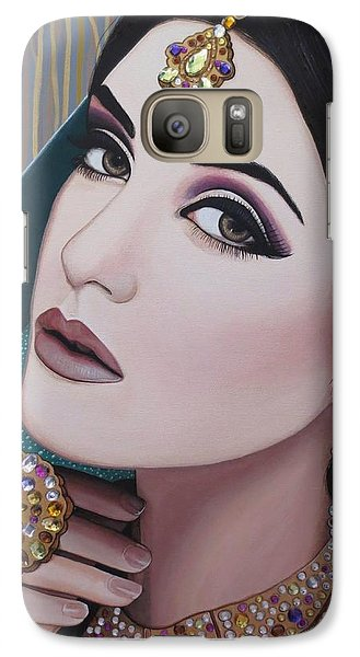 Galaxy Case featuring the painting Viridian Indian Beauty by Malinda Prudhomme