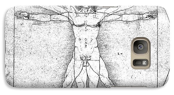 Vitruvian Guitar Man Bw Galaxy S7 Case by Jon Neidert