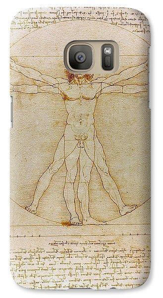 Galaxy Case featuring the drawing Vitruvian Man By Leonardo Da Vinci  by Karon Melillo DeVega