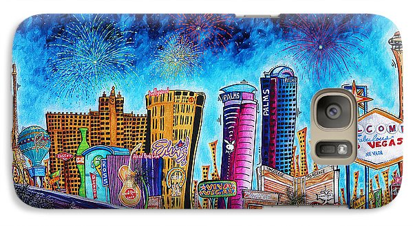 Viva Las Vegas A Fun And Funky Pop Art Painting Of The Vegas Skyline And Sign By Megan Duncanson Galaxy S7 Case
