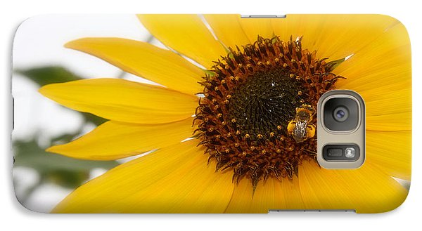 Galaxy Case featuring the photograph Vivid Sunflower With Bee Fine Art Nature Photography  by Jerry Cowart