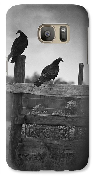 Galaxy Case featuring the photograph Vultures On Fence by Bradley R Youngberg