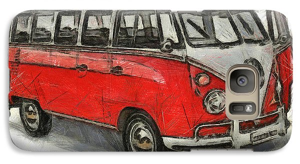 Galaxy Case featuring the painting Vw Van - Red Art Print by Georgi Dimitrov