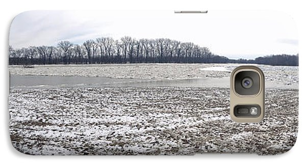 Galaxy Case featuring the photograph Wabash River Ice Jam Panorama by Tony Mathews