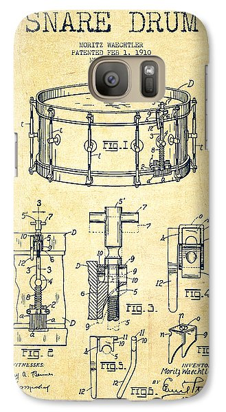 Drum Galaxy S7 Case - Waechtler Snare Drum Patent Drawing From 1910 - Vintage by Aged Pixel