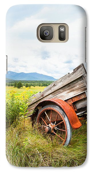 Galaxy Case featuring the photograph Wagon And Wildflowers - Vertical Composition by Gary Heller
