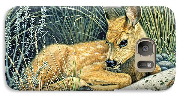 Waiting For Mom-mule Deer Fawn Galaxy Case by Paul Krapf