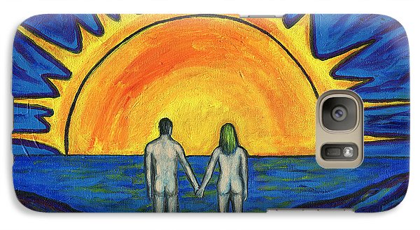 Galaxy Case featuring the painting Waiting For The Sun by Roz Abellera Art