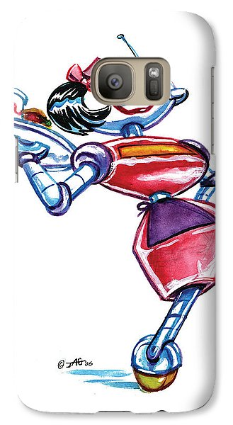 Galaxy Case featuring the drawing Waitress Robot by John Ashton Golden