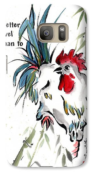 Galaxy Case featuring the painting Walkabout With Buddha Quote I by Bill Searle