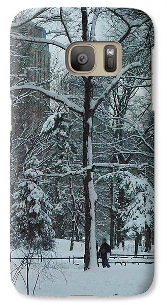 Galaxy Case featuring the photograph Walking In Snowy Central Park At Dusk by Winifred Butler