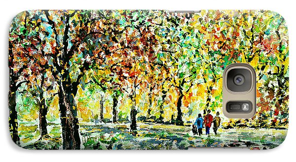 Galaxy Case featuring the painting Walking In The Park by Alfred Motzer
