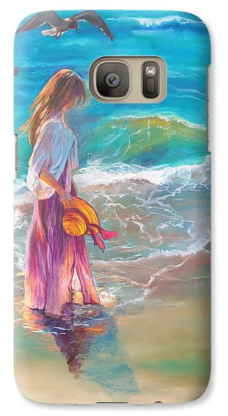 Galaxy Case featuring the painting Walking In The Waves by Karen Kennedy Chatham