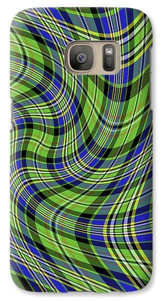 Galaxy Case featuring the digital art Warped Scott Ancient Green Tartan by Gregory Scott