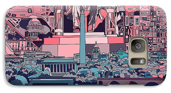 Lincoln Memorial Galaxy S7 Case - Washington Dc Skyline Abstract 2 by Bekim Art