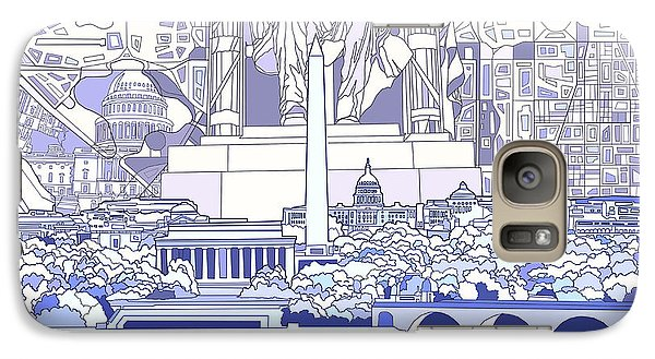 Lincoln Memorial Galaxy S7 Case - Washington Dc Skyline Abstract 3 by Bekim Art