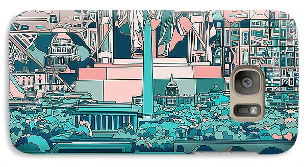 Lincoln Memorial Galaxy S7 Case - Washington Dc Skyline Abstract 5 by Bekim Art