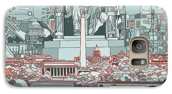 Lincoln Memorial Galaxy S7 Case - Washington Dc Skyline Abstract by Bekim Art