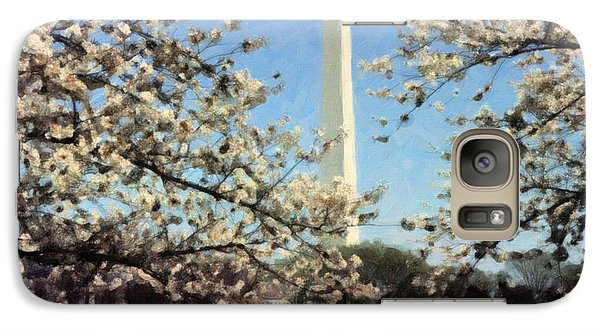 Galaxy Case featuring the painting Washington Monument Cherry Blossoms by Spyder Webb