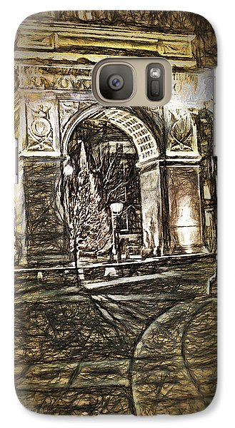 Galaxy Case featuring the digital art Washington Square Sketch by Terry Cork