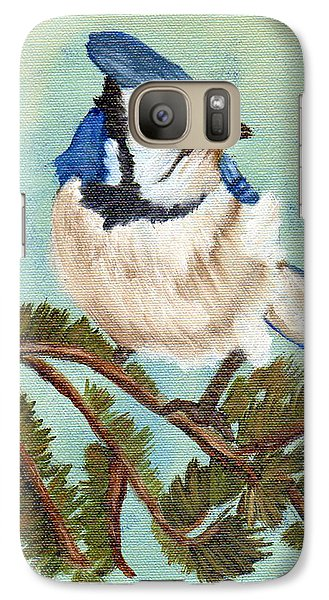Galaxy Case featuring the painting Watchful Blue Jay by J Cheyenne Howell