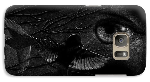 Galaxy Case featuring the drawing Watching Over Sparrows by Sandra LaFaut