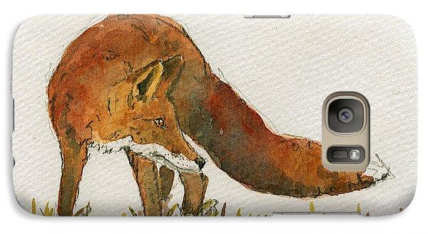 Orange Galaxy S7 Case - Watching Red Fox by Juan  Bosco