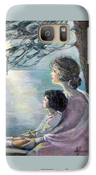 Galaxy Case featuring the painting Watching The Moon by Donna Tucker