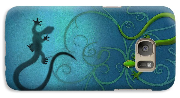 water colour print of twin geckos and swirls Duality Galaxy S7 Case