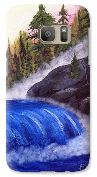 Galaxy Case featuring the painting Water Fall By Rocks by Brenda Brown
