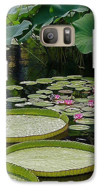 Galaxy Case featuring the photograph Water Lilies And Platters And Lotus Leaves by Byron Varvarigos