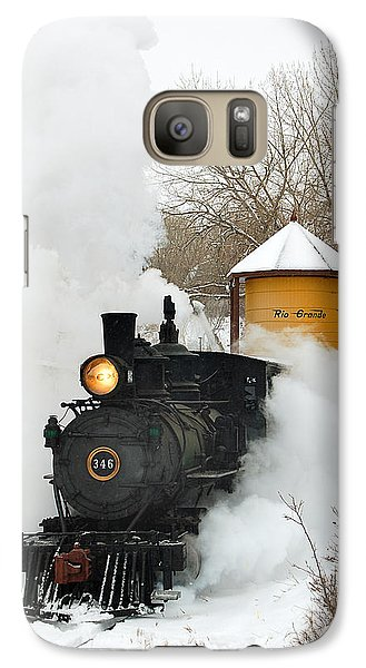 Train Galaxy S7 Case - Water Tower Behind The Steam by Ken Smith