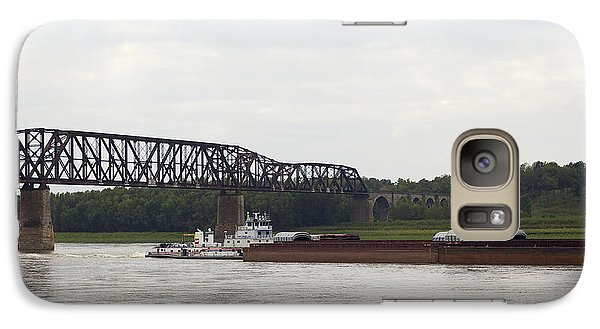 Galaxy Case featuring the photograph Water Under The Bridge - Towboat On The Mississippi by Jane Eleanor Nicholas