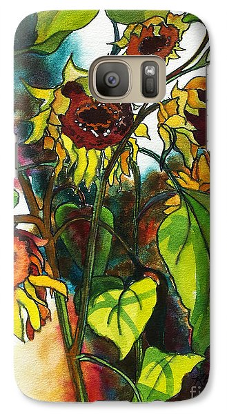 Galaxy Case featuring the painting Sunflowers On The Rise by Kathy Braud