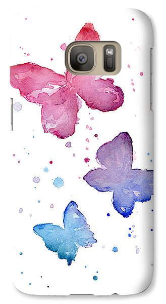 Watercolor Butterflies Galaxy Case by Olga Shvartsur