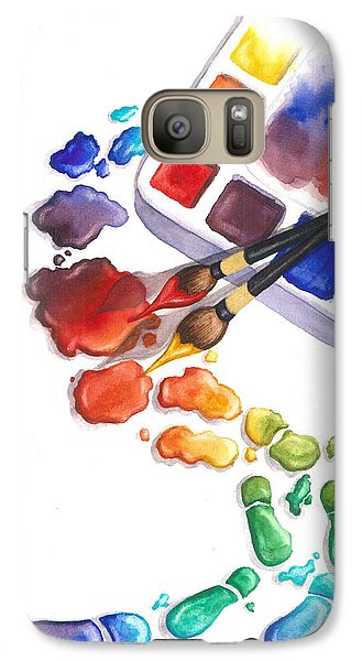 Watercolor Footprints Galaxy Case by Conni  Reinecke