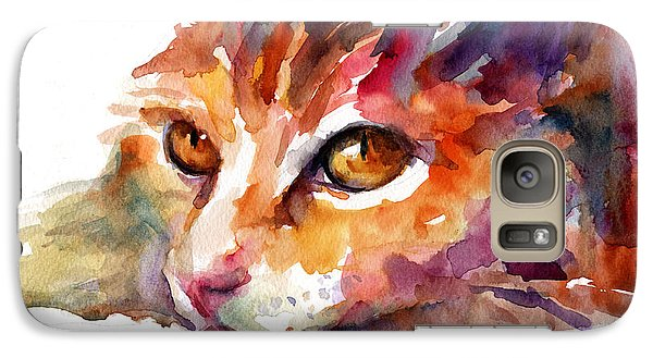 Watercolor Orange Tubby Cat Galaxy S7 Case