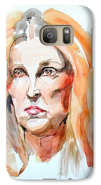 Galaxy Case featuring the painting Watercolor Portrait Of A Mad Redhead by Greta Corens