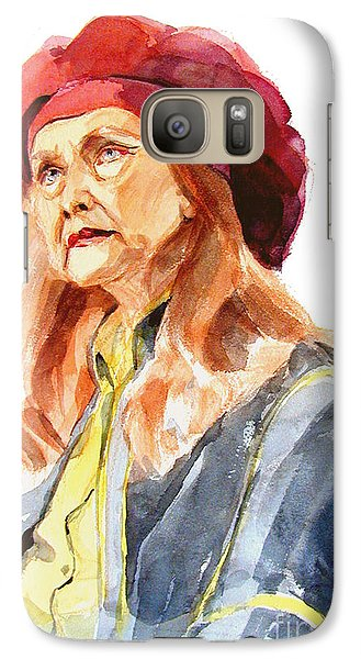 Galaxy Case featuring the painting Watercolor Portrait Of An Old Lady by Greta Corens