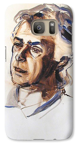 Galaxy Case featuring the painting Watercolor Portrait Sketch Of A Man In Monochrome by Greta Corens