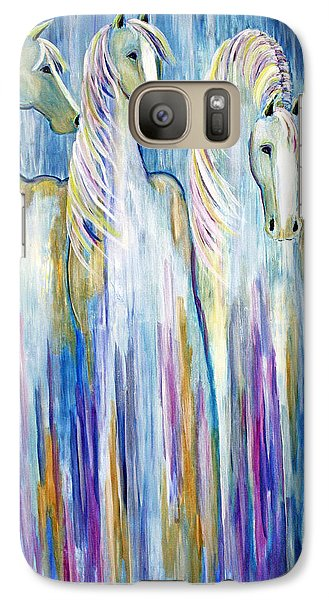 Galaxy Case featuring the painting Waterfall Abstract Horses by Jennifer Godshalk