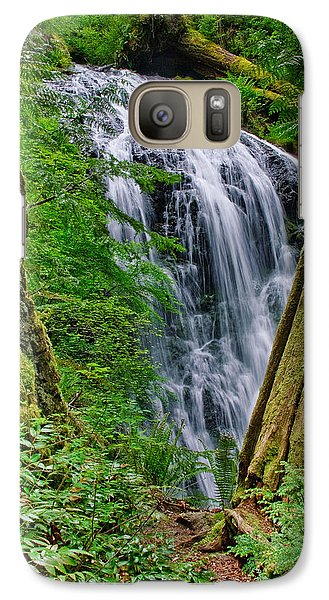 Galaxy Case featuring the photograph Waterfall And Green Vegetation Framed By Trees by Jeff Goulden