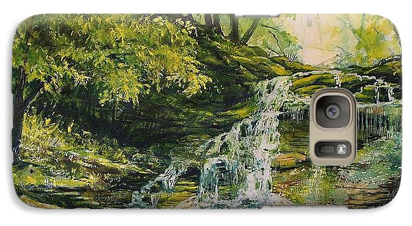 Galaxy Case featuring the painting Waterfall In The Woods by Joy Nichols