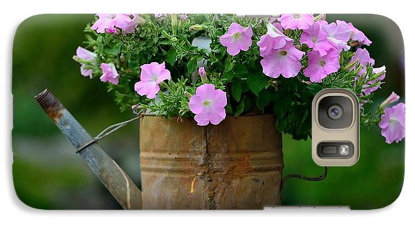 Galaxy Case featuring the photograph Watering Can And Flowers by Kathy King