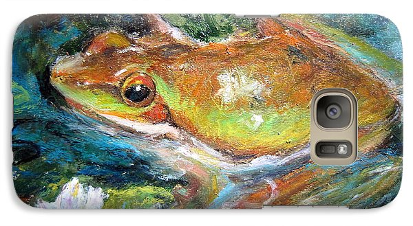 Galaxy Case featuring the painting Waterlily And Frog by Jieming Wang