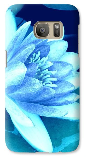 Galaxy Case featuring the photograph Waterlily Blue 3 by Margaret Newcomb