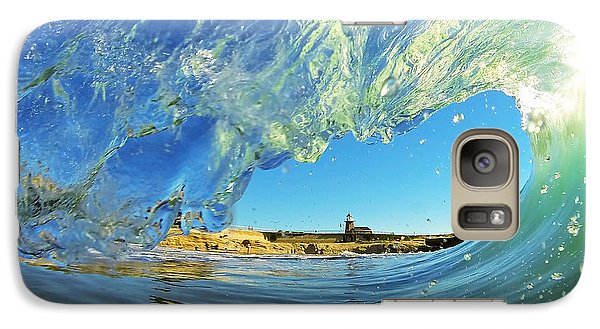 Galaxy Case featuring the photograph Wave And Lighthouse 1 by Paul Topp