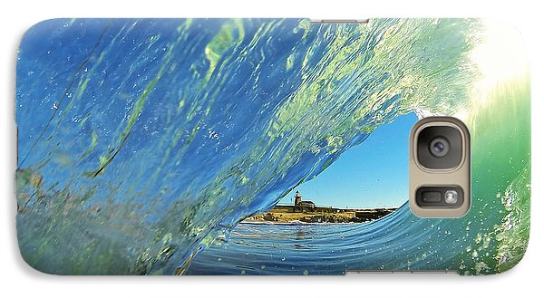 Galaxy Case featuring the photograph Wave And Lighthouse 2 by Paul Topp