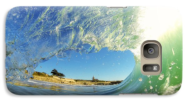 Galaxy Case featuring the photograph Wave And Lighthouse 3 by Paul Topp