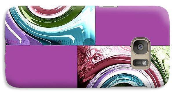 Galaxy Case featuring the digital art Wave Of Purple by Ann Calvo